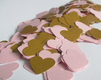500 Pink and gold heart confetti - Wedding - Baby Shower - Birthday - Table decoration - Confetti -