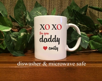 Personalized Hugs & Kisses for my Daddy Coffee Mug Valentines Day Gifts for Dad