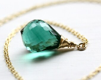 Gemstone necklace, green amethyst necklace, Long gemstone necklace, long gold necklace, luxe gemstone necklace, stone long necklace