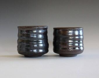 Pair of Teacups Glazed in Tenmoku