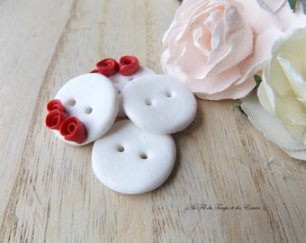 White Button Duo with Red Roses