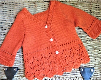 Hand Knitted Baby Girl Tangerine Fishtail Lace Cardigan Sweater