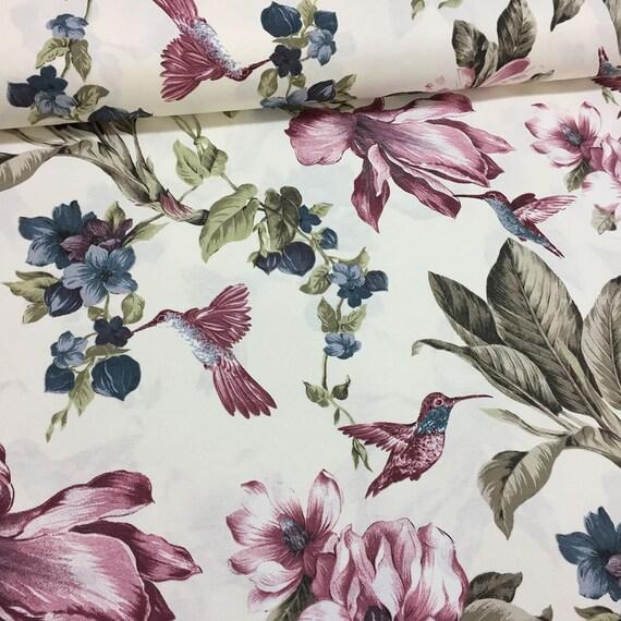 Canvas Duck Fabric, Lily Hummingbird, Home Decor Cloth, Floral, Drape  Furnishing, 1/2 Yard/Metre, Fat Quarter, Plum Olive Blue, GJNRUW39 C From  ...