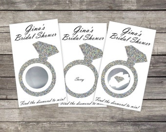Bridal Shower Scratch Off Game Cards (10 card ct.) - Glitter Diamond Ring