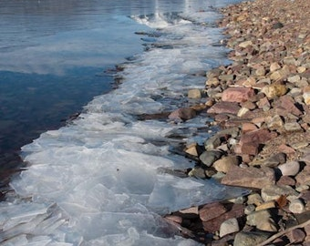 Icy Shore, Lake McDonald, Montana Winter, Snow and Ice, Glacier National Park Photograph or Greeting card