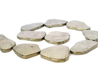 "15"" LARGE Pyrite Natural flat SLAB nugget Beads gemstone - polished"