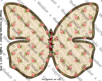 Butterfly Junk Smash Journal 3 Journaling pages kit lined graph Digital Printable Vintage Shabby Chic Chocolate Pink Roses Paper Download