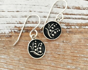 Lily of the Valley earrings, bridesmaid gift, wedding jewelry, flower earrings, gift for her, maid of honor present, bridal, sorority