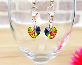 Swarovski Elements Vitrail Medium Heart Earrings, Swarovski Elements Earrings, Dangle Swarovski Elements Earrings, Crystal Heart Earrings