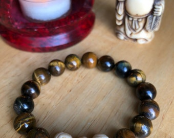 Tiger Eye Stone Bracelet with Cream Colored Accent Beads