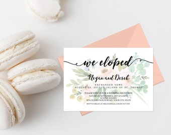 Pink Floral We Eloped Wedding Reception Invitation Printable Boho Wedding Reception Invites We Tied The Knot We're Married Just Married 233