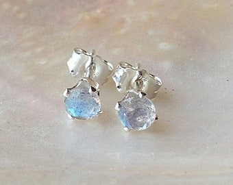 Dainty labradorite stud earrings, tiny AAA gemstone post earrings, blue flash labradorite earrings, small faceted sterling silver studs