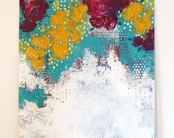Abstract Floral Canvas Art- Large Abstract Flower Painting in Acrylic, Original Painting that Makes a Great Housewarming Gift.