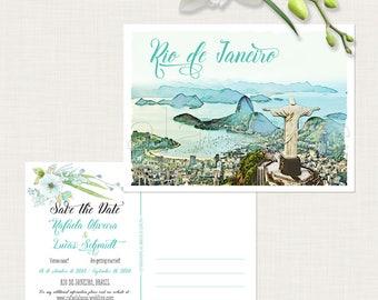 Brazil Rio de Janeiro Brazilian Portuguese Bilingual Illustrated Destination Wedding  Save the Date Postcard - Deposit Payment