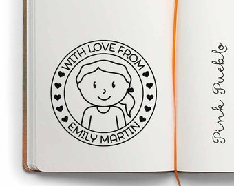 Large Personalized Girl Rubber Stamp, Custom Childrens Name Rubber Stamp - Choose Hairstyle and Accessories