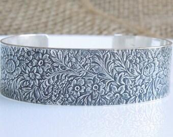 Sterling Silber Armreif - Antik Blumen Blatt - massiv Sterling 925-3/4 Zoll breit