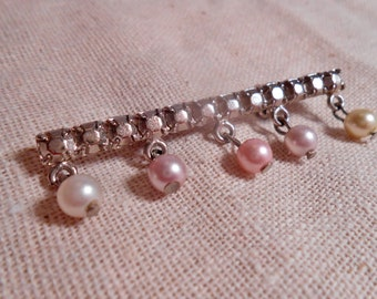 Victorian Style Bar Pin Brooch with Pearls Silver Tone