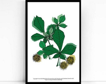 Instant download - printable beech leaves - green 8x10 inch art - home decor - winter decorations wall art - nature inspired - digital art