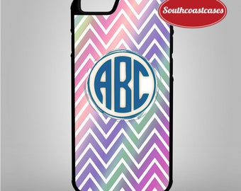 Custom Monogram Initials Neon Chevron Pattern Personalised iPhone Rubber TPU Phone Case Cover For iPhone 4/4s, 5c, 5/5s/Se, 6/6, 7, 8 and X