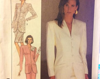 UNCUT Vintage 1980's Sewing Pattern Simplicity 8433 Misses' Suit with lined Jacket in size 14, Bust 36 Inches UNCUT  Complete