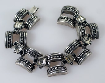 Art Deco Silver Bracelet, Vintage Art Deco Inspired Silver Tone Faux Diamond Onyx Rhinestone Link Bracelet