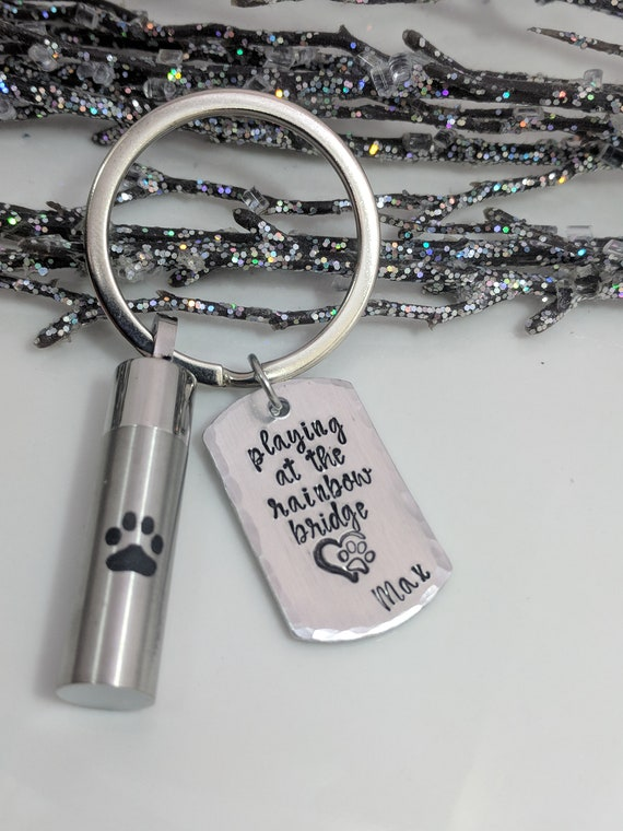 Dog Loss- Urn Keychain- Pawprint Vial- Urn for Ashes- Loss of Dog- Loss of Pet- Rainbow Bridge- Pet Ashes Holder- Urn Keepsake- Customized