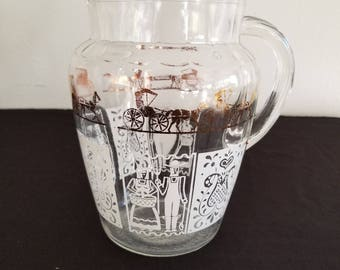 Homestead Patterned Pitcher - Gold and White