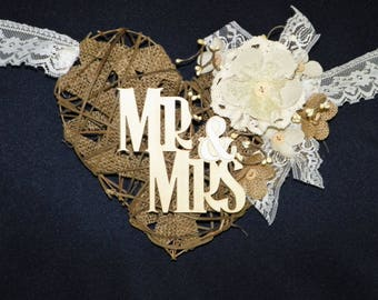 Grapevine Garland Heart Mr & Mrs. Burlap Heart with Lace, Burlap and Linen Flowers Backdrop for Wedding, Swag, Banner Bride and Groom