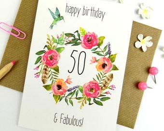 50th Birthday Card For Her