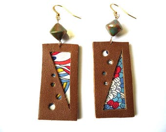 Leather and fabric with polymer bead earrings