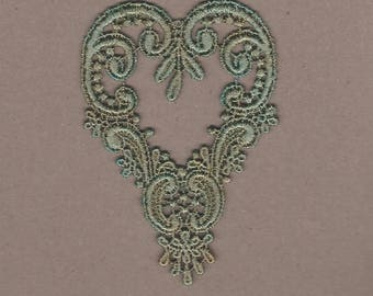 Hand Dyed Venise Lace Applique Victorian Heart Aged Turquoise Bliss