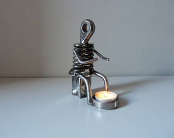 "Sculpture metal/candle holder ""Man in the fire"""