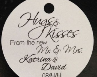 PERSONALIZED Round Wedding Favor Thank You Tags Hugs Kisses Mr Mrs