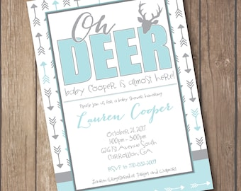 Oh Deer Baby Boy Shower Invitation - Country Rustic Arrows Grey and Teal Blue
