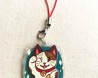 "Maneki Neko (Lucky Cat) 1.5"" Acrylic Charm - Keychain or Cell Phone Strap"