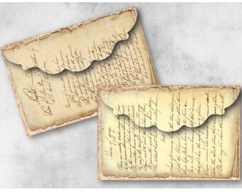 Handwritten Ephemera Envelopes Digital Collage Sheet Download -942- Digital Paper - Instant Download Printables
