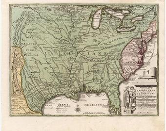 Antique map of Louisana, 1719, old map,art deco,vintage decor, fine art print