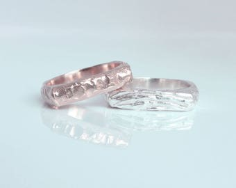 Square band gold pinky stacking  ring, minimalist design kabbalah jewish Israeli jewelry, made in Israel.