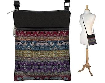 Small Crossbody Bag, Bohemian Bag, Cross Body Purse, Boho Fabric Handbags, Kilim Shoulder Bags,  Turkish Tapestry Bag red purple RTS
