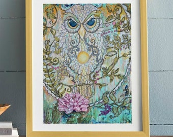 Visonary Owl.  Cardstock or Wrapped Canvas. professional art print - many sizes available - Pink Lotus Flower