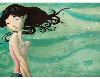 """4"""" x 6"""" Girl in the Wind Art Print by Shawn Hancock - Free Shipping in US for a limited time!"""