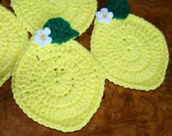 4 Crochet Citrus coaster mini doily  Lemon with Flower Leaf