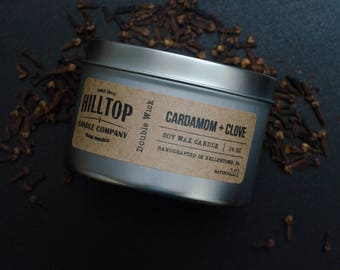 Cardamom + Clove - Tin Candle - Hand Poured Soy Candle