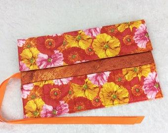 Handmade Makeup Pen Pencil Roll Crochet Knitting needles tool holder case Flowers