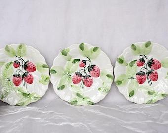 Strawberry Plates - Bordallo Pinheiro Majolica Plates - Strawberry Decor - Vintage Decorative Plates - Country Home Decor - Spring - Summer