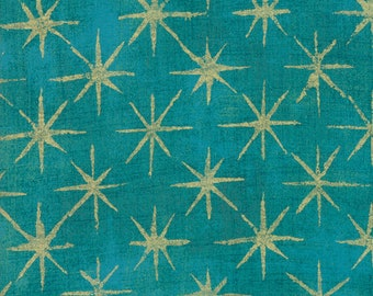 Grunge Seeing Stars Metallic Turquoise - Basic Grey - 30148 41M - Metallic Stars - Moda Fabrics