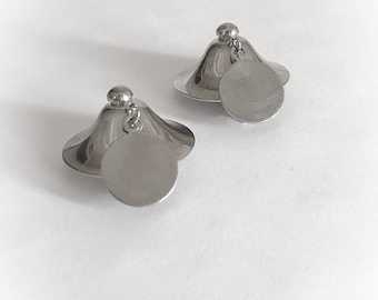 Vintage  Bell Shaped Silver Tone Metal  Earrings Dangling Disc Clip On