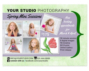 Mini Sessions Template - 5x7 Spring Marketing Board 010 for Photoshop and Photoshop Elements