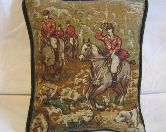 FOXHUNTING Brown/Olive Green Tones Small Horse Pillow Quality Tapestry Fabric w/Green Piping Trim....Beautifully Handmade