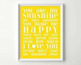 You Are My Sunshine Wall Art - Baby Girl or Boy Yellow Nursery Decor - Sunshine Song Lullaby Sign - Kids Room Wall Art Print